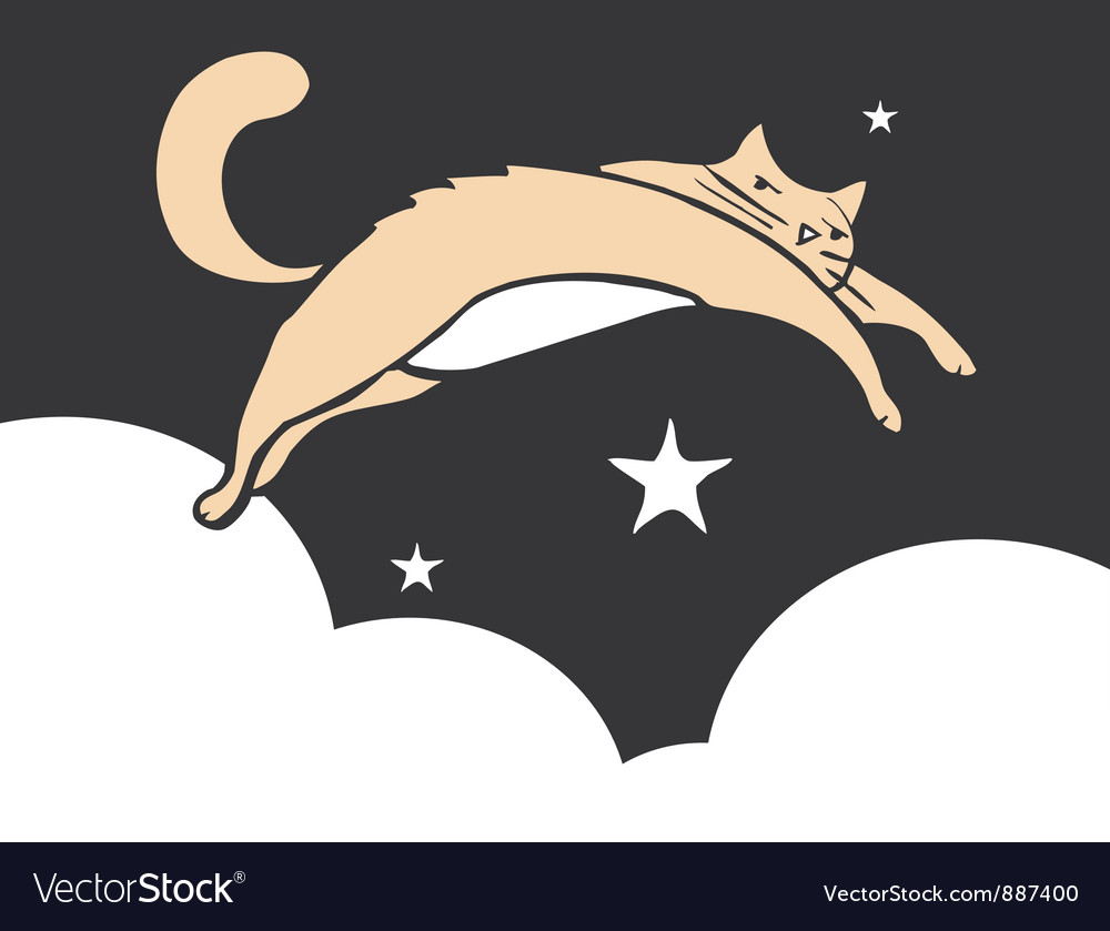 Leaping cat vector