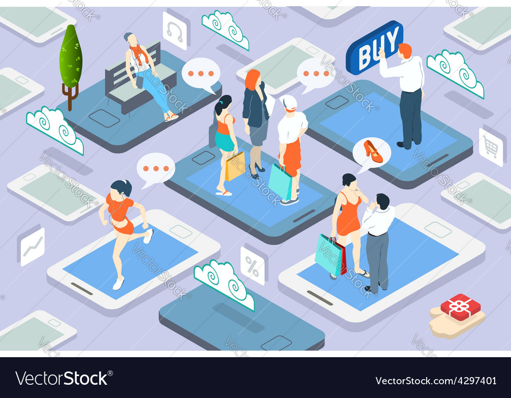 Isometric people network concept vector