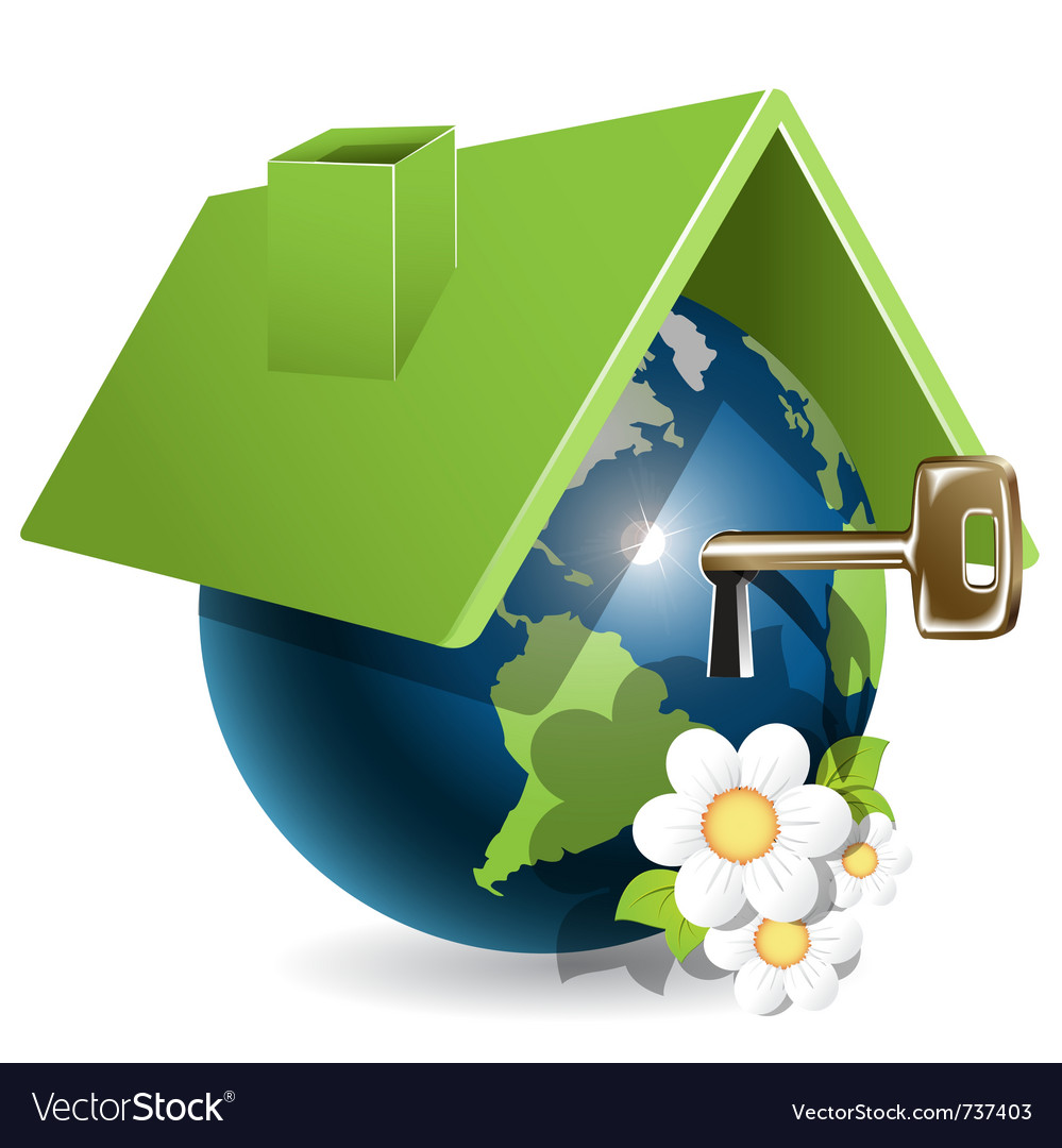 Blue globe under green roof and flower vector
