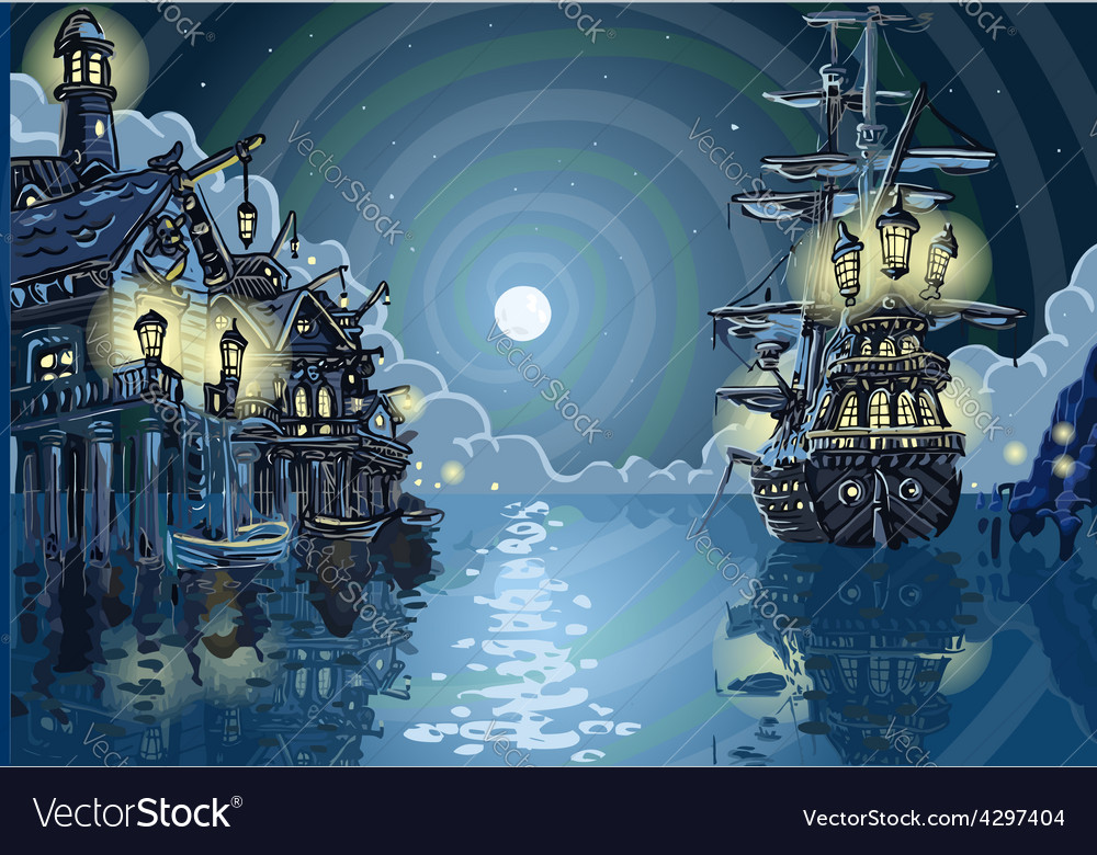 Adventure island - pirates cove bay vector