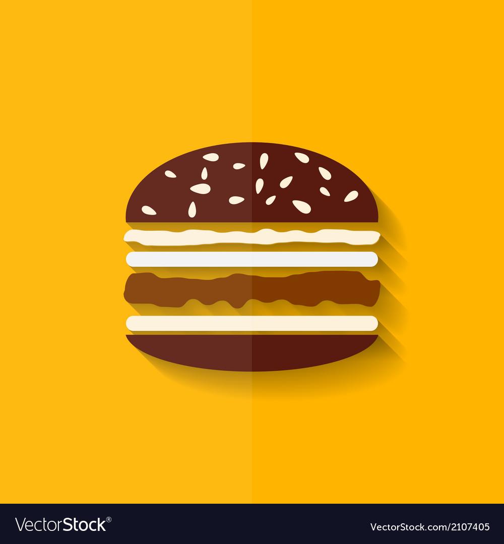 Hamburger icon cheeseburger symbol flat design vector