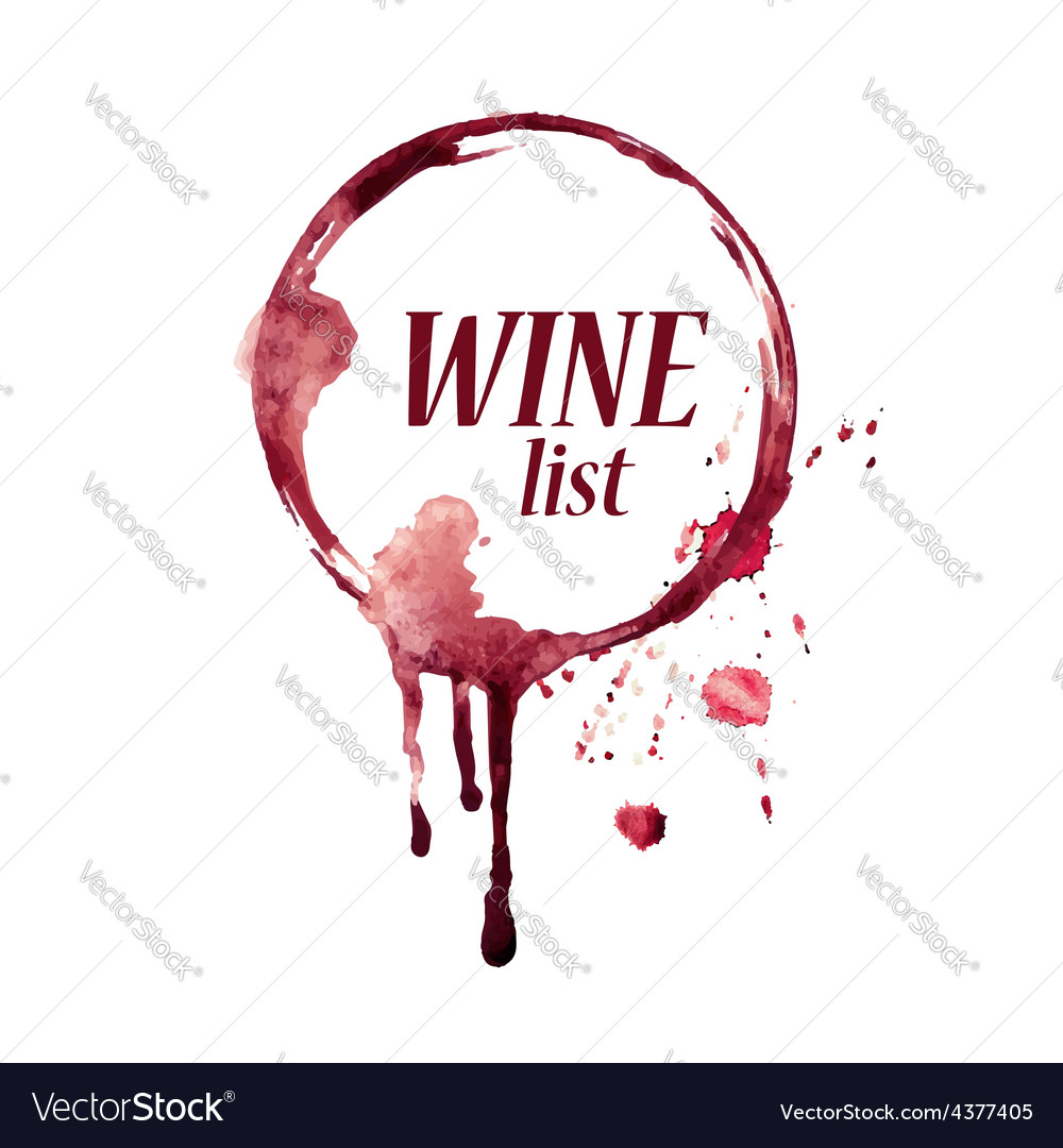 Watercolor emblem with wine stain vector