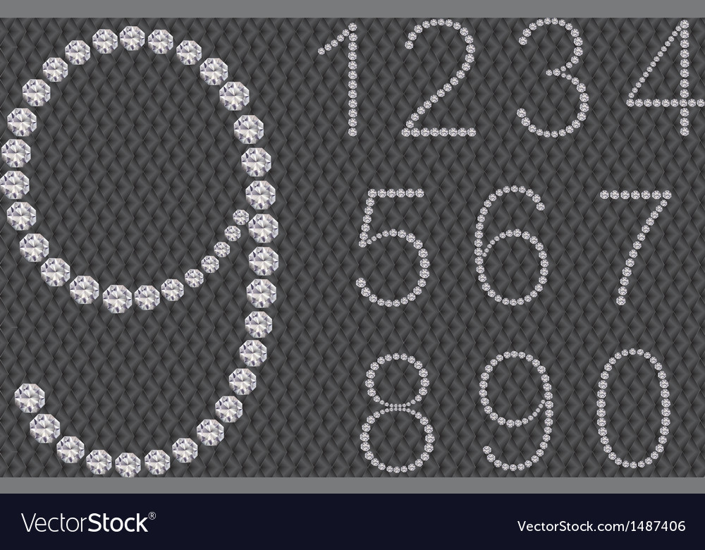 Diamond number set from 1 to 9 vector