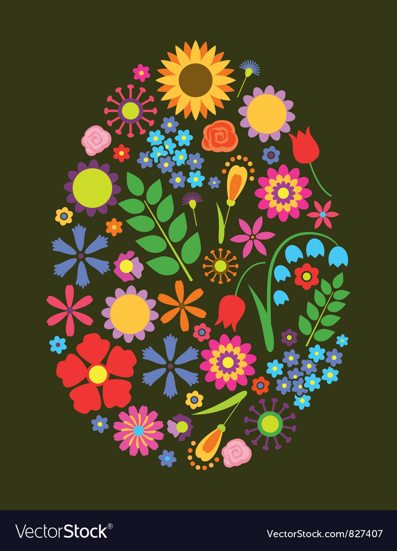 Flowers easter egg vector