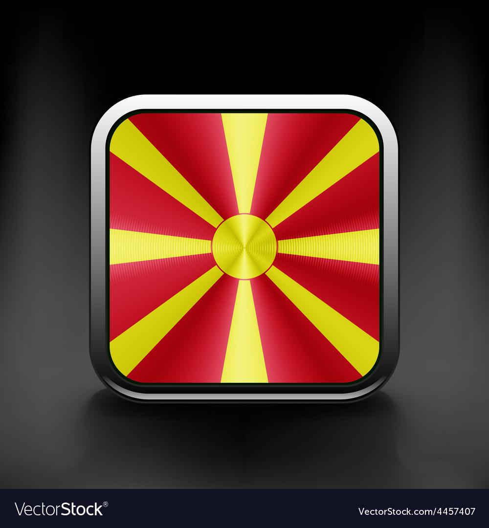 Raster version flag of macedonia glossy icon vector