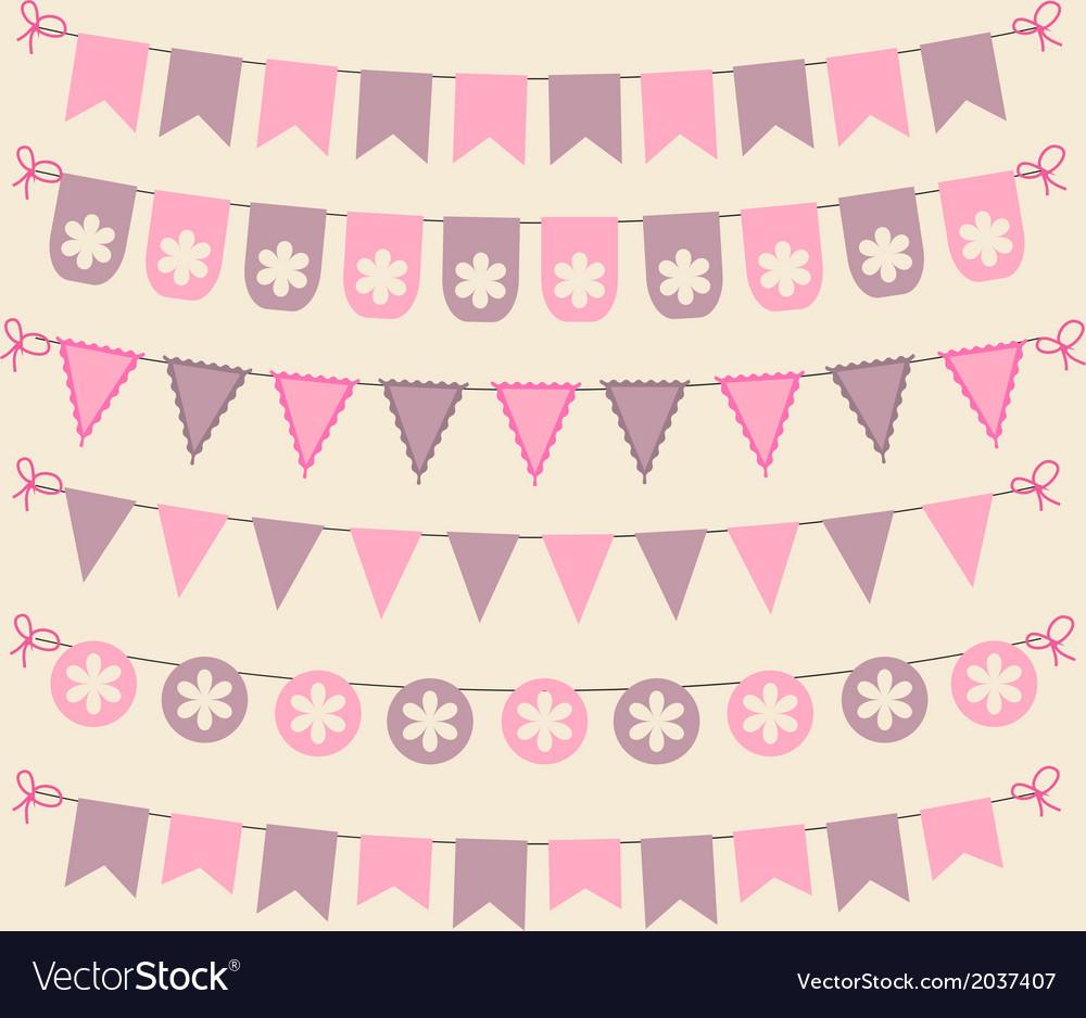 Retro bunting set patel pink scrapbook design vector