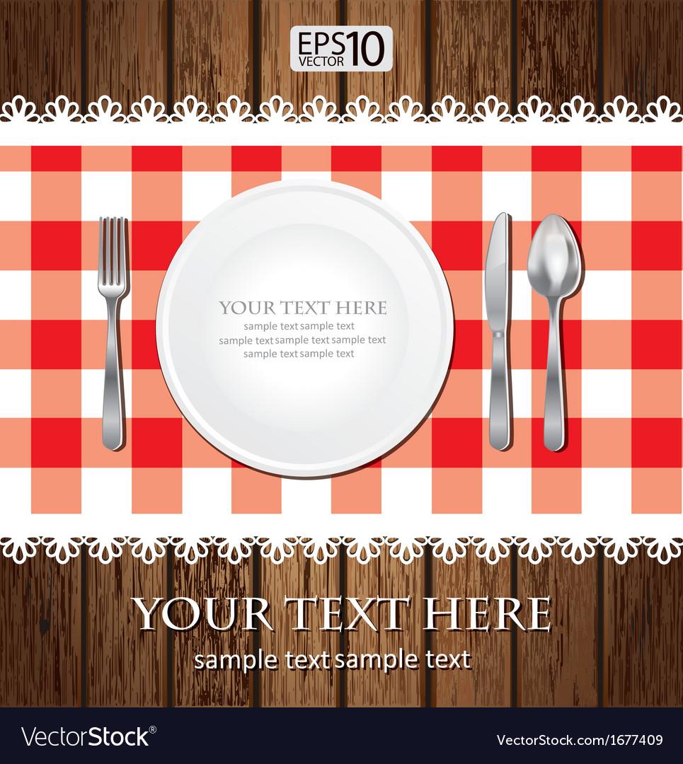 Empty dinner plate vector
