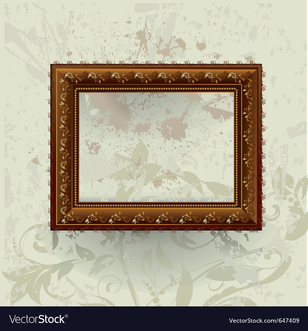 Gilded frame on grunge wall vector