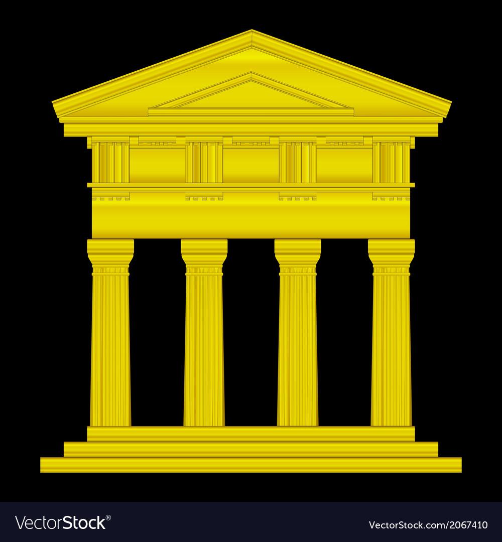 Gold doric temple vector