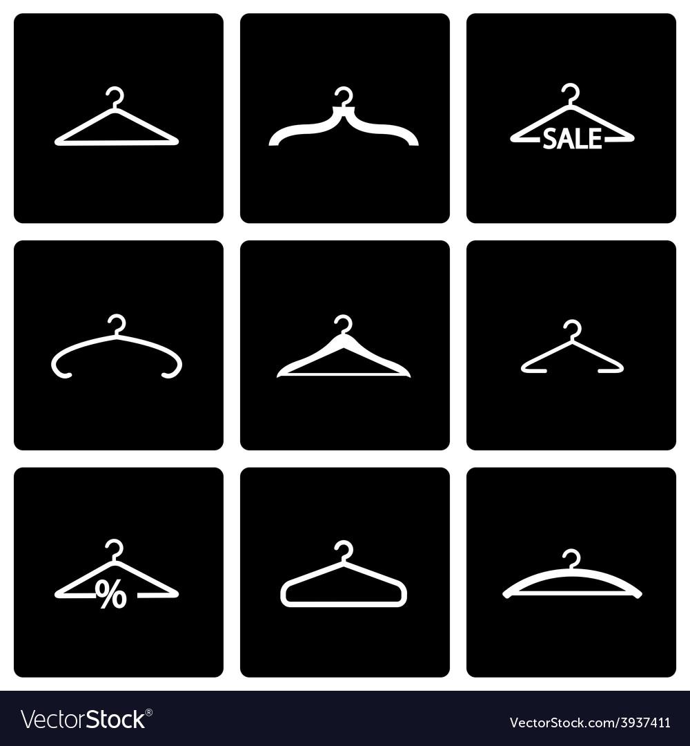 Black hanger icon set vector