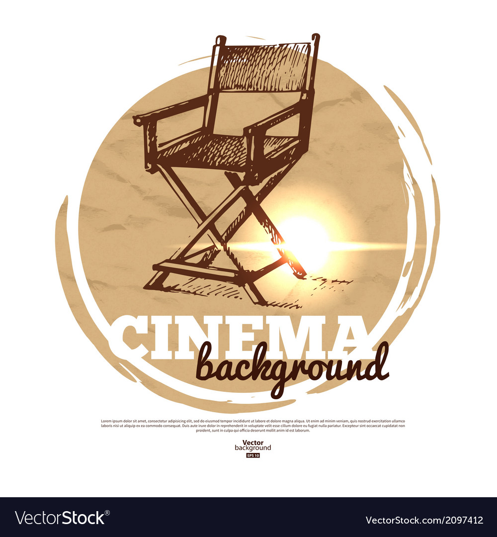 Movie cinema banner with hand drawn sketch vector