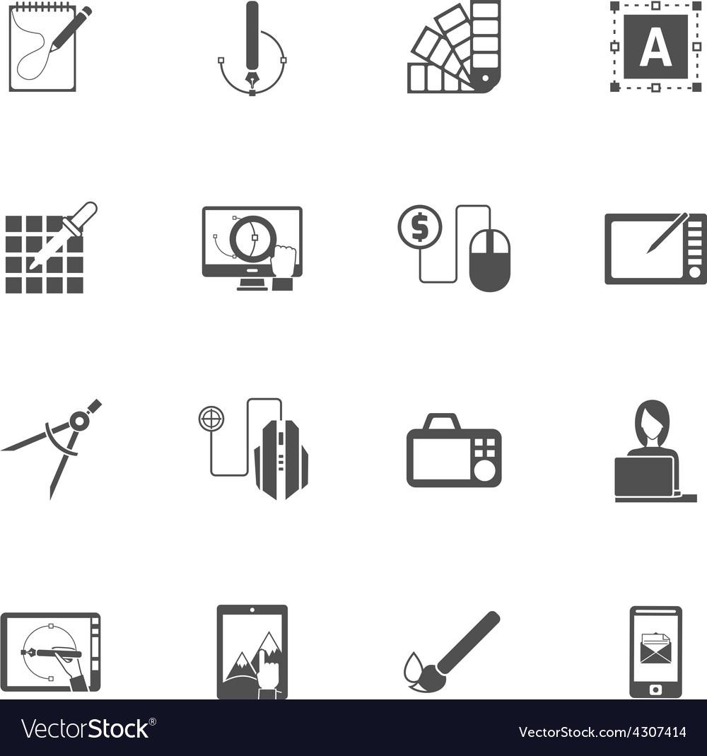 Graphic design black icons vector