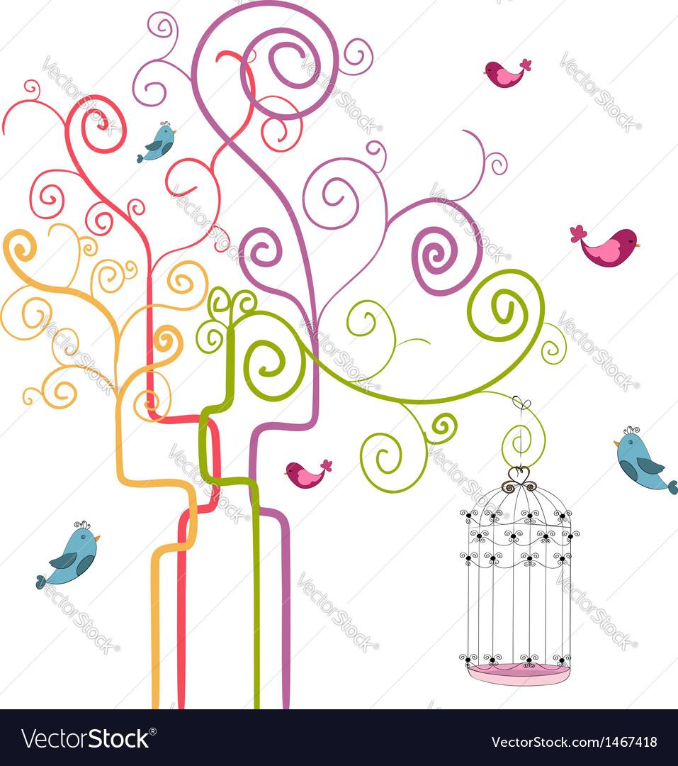 Freedom spring tree vector