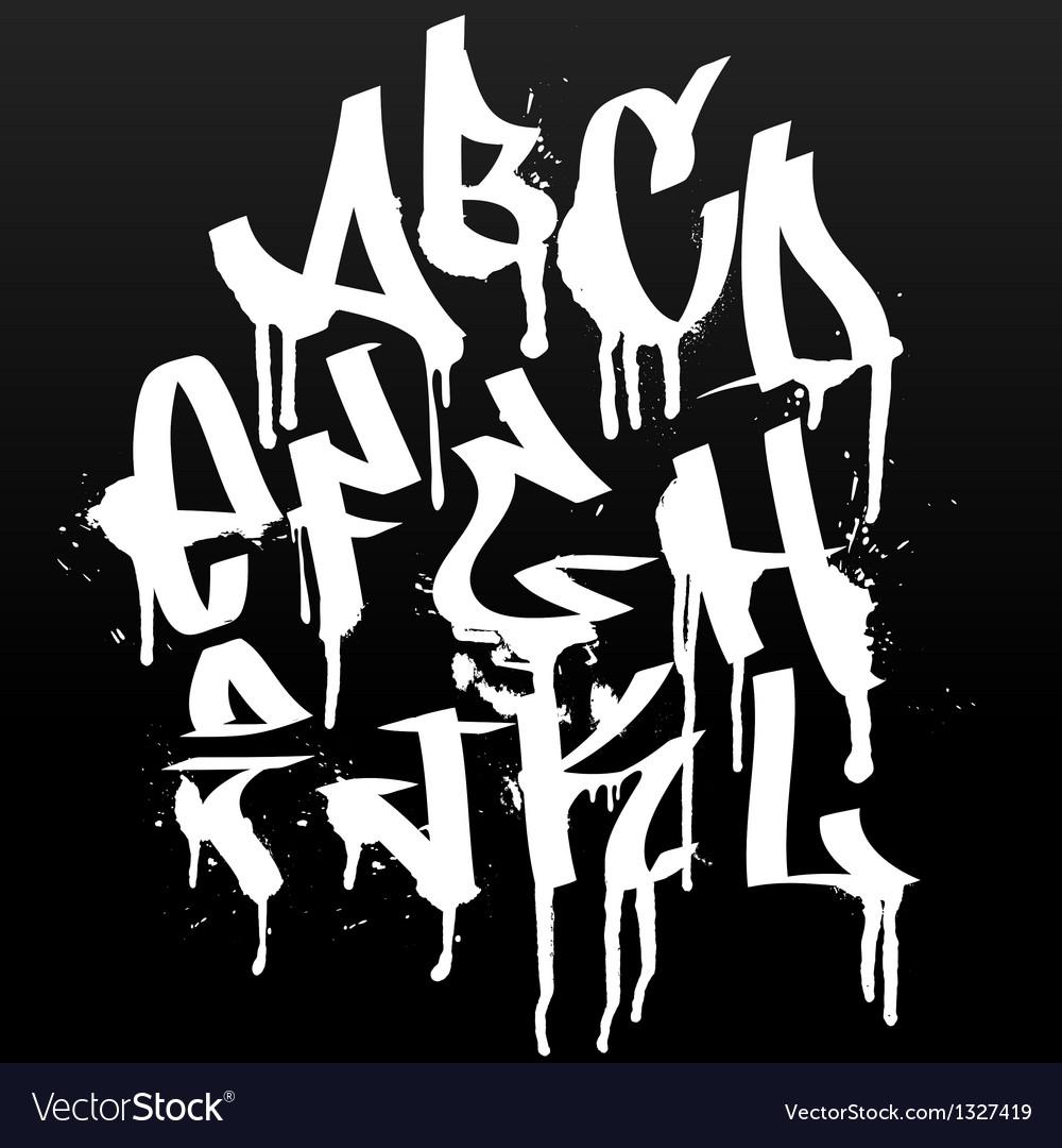 Graffiti font alphabet abc letters vector