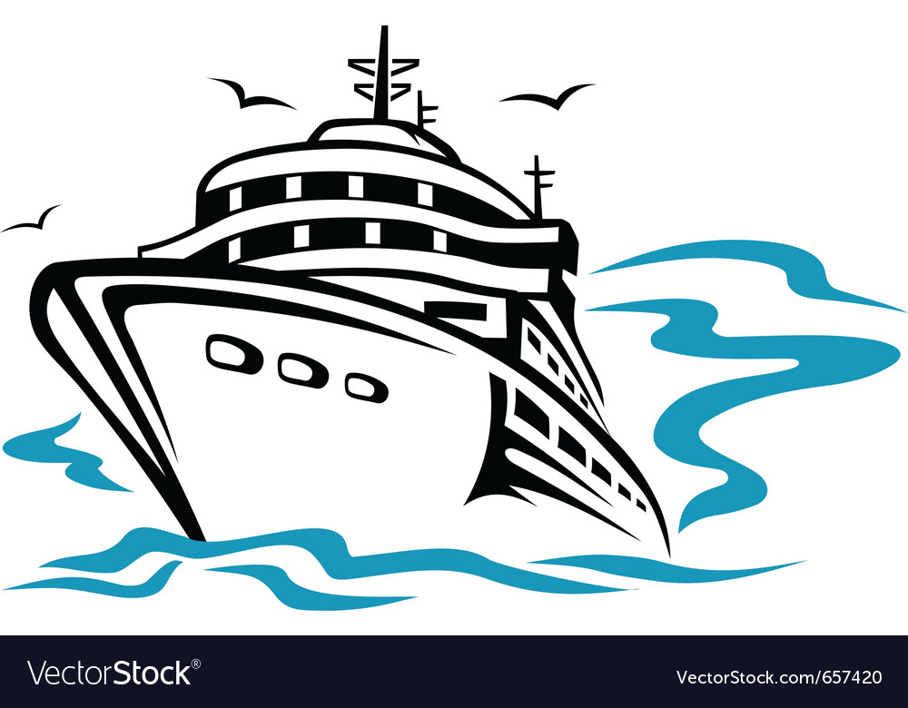 Transport ship silhouette vector