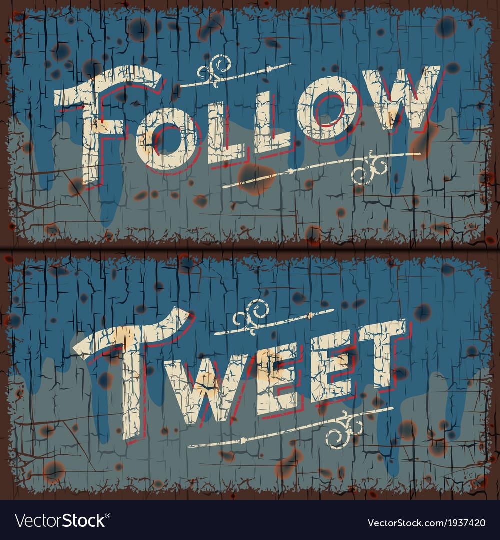 Tweet follow words - social media concept vector