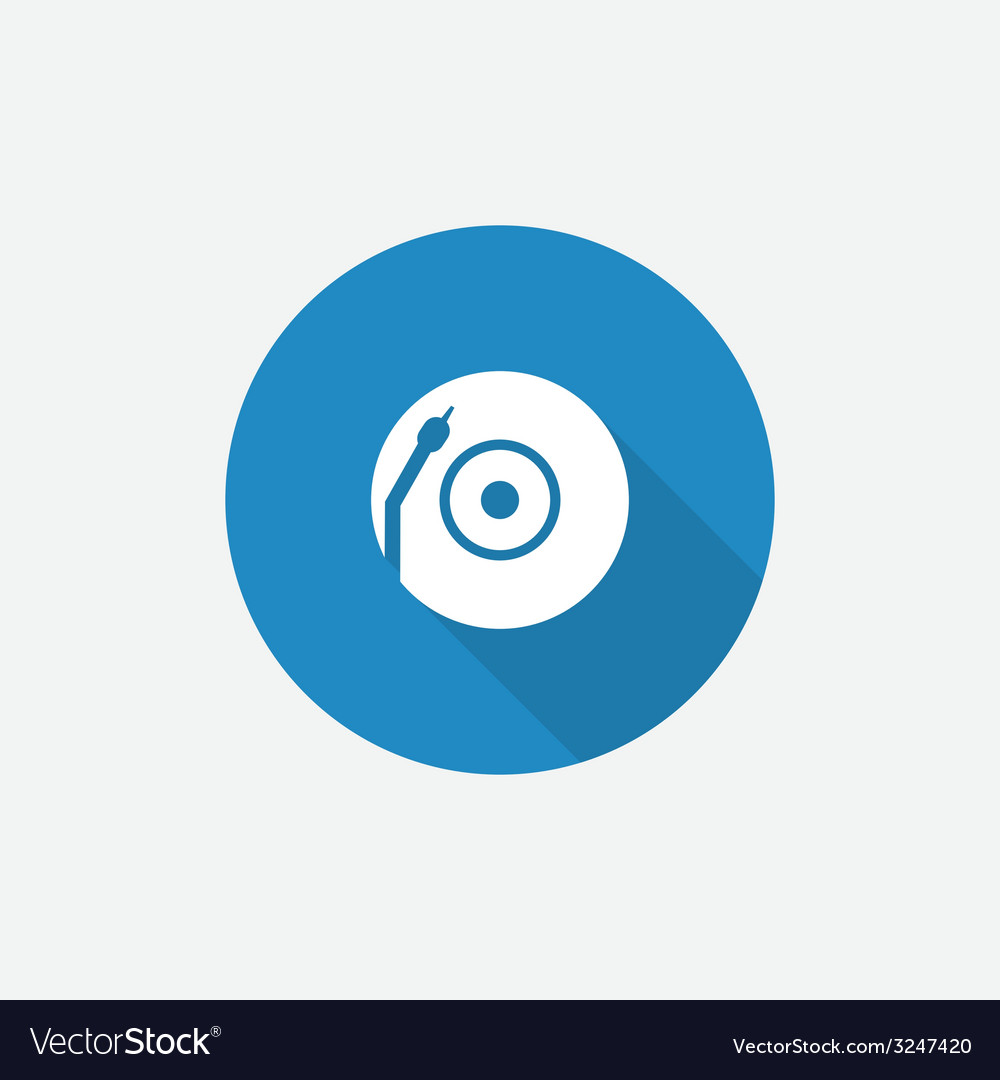 Vinyl turntable flat blue simple icon with long vector