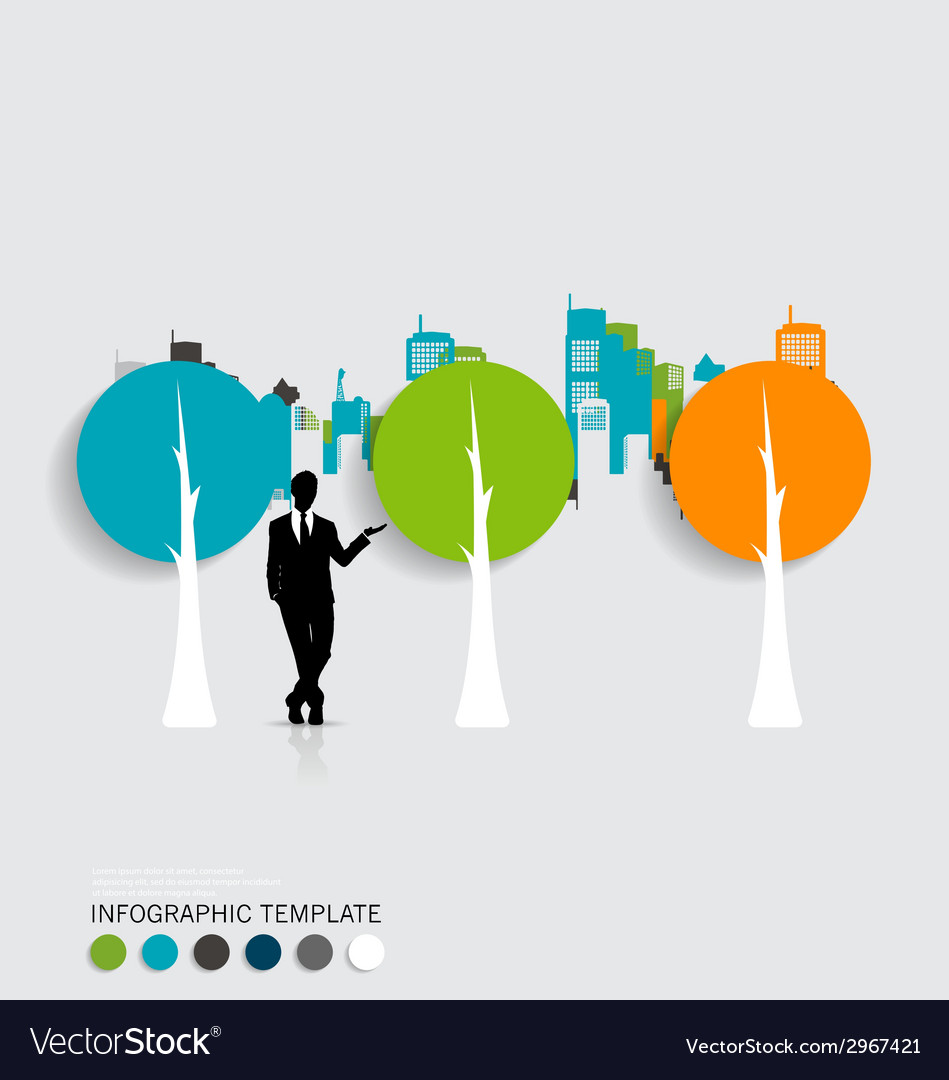 Businessman with infographics template and vector