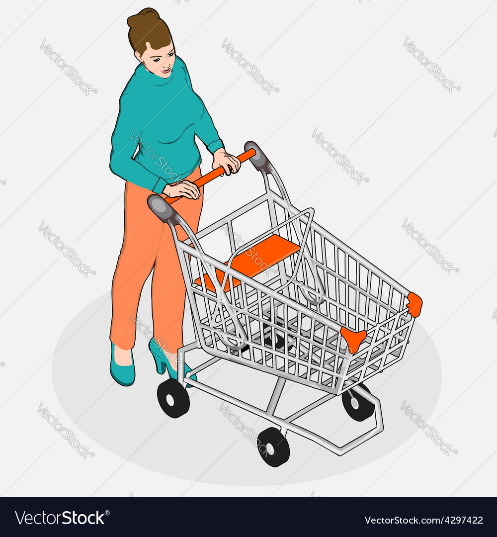 Isometric grocery shopping - walking vintage girl vector