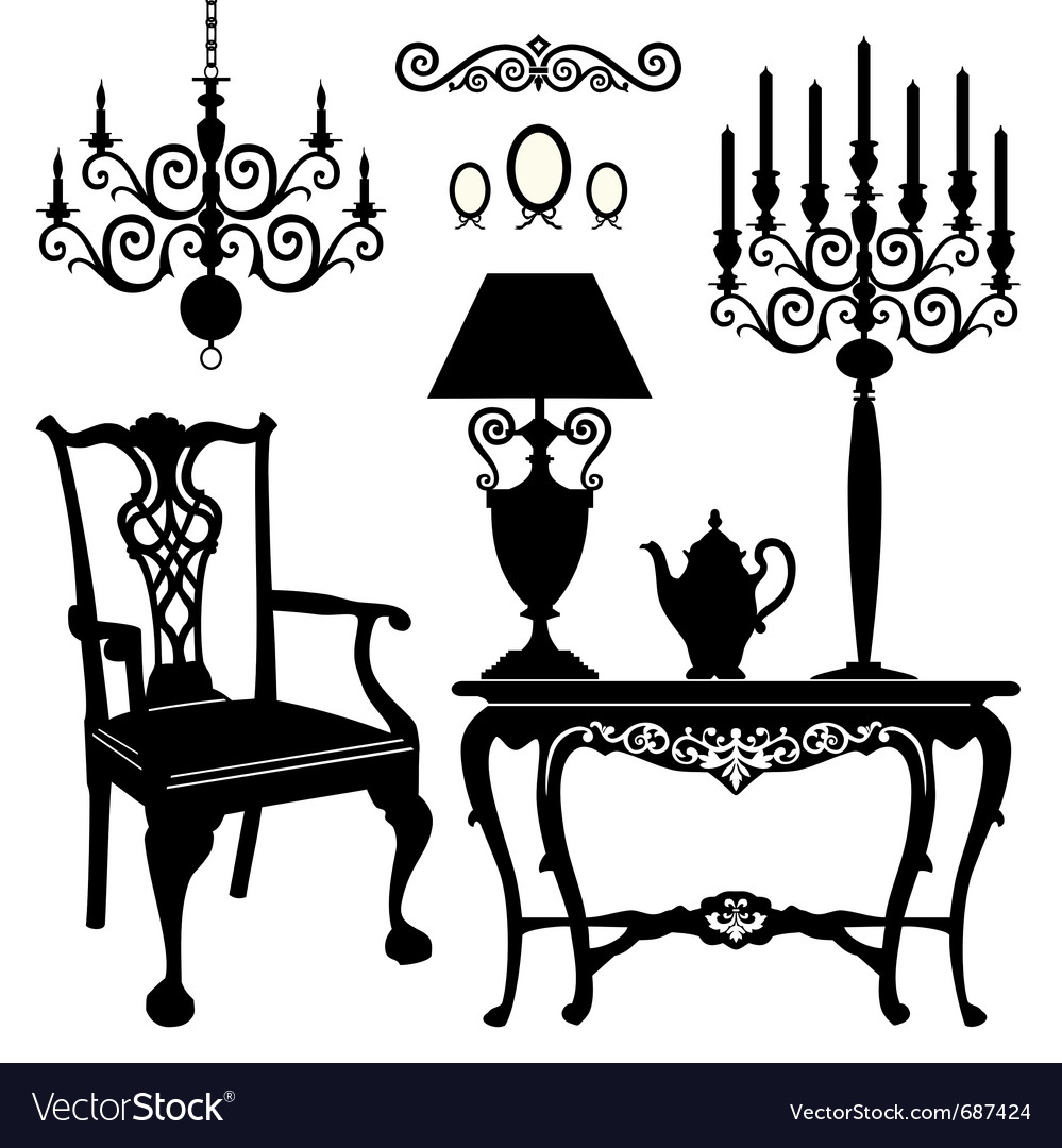 Antique furniture vector