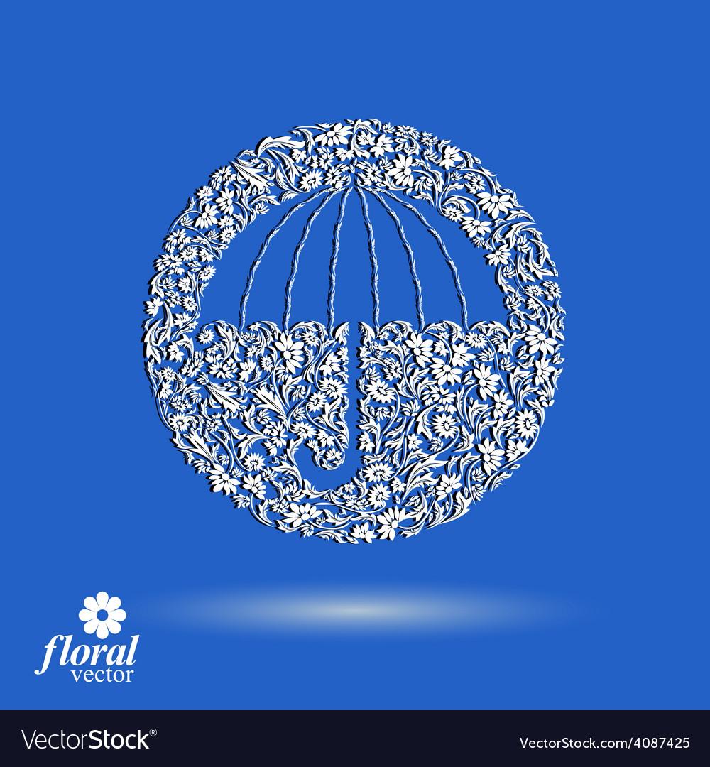 Patterned umbrella icon vector