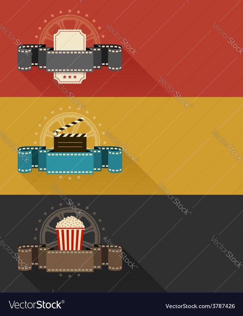 Retro movie theater posters vector