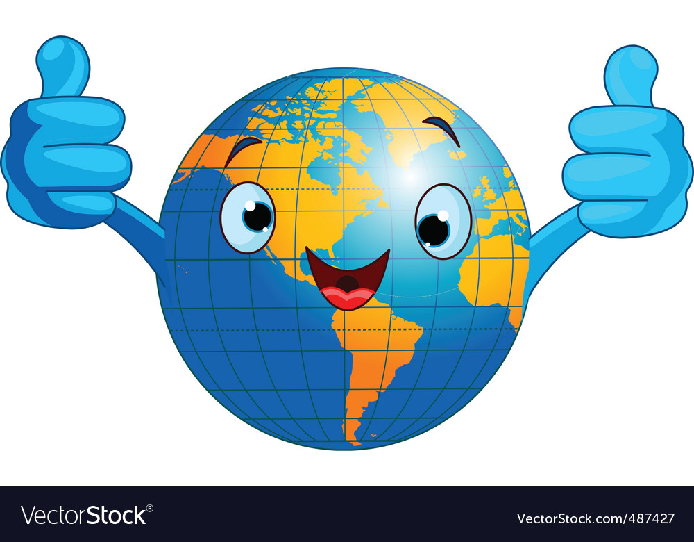 World globe character vector