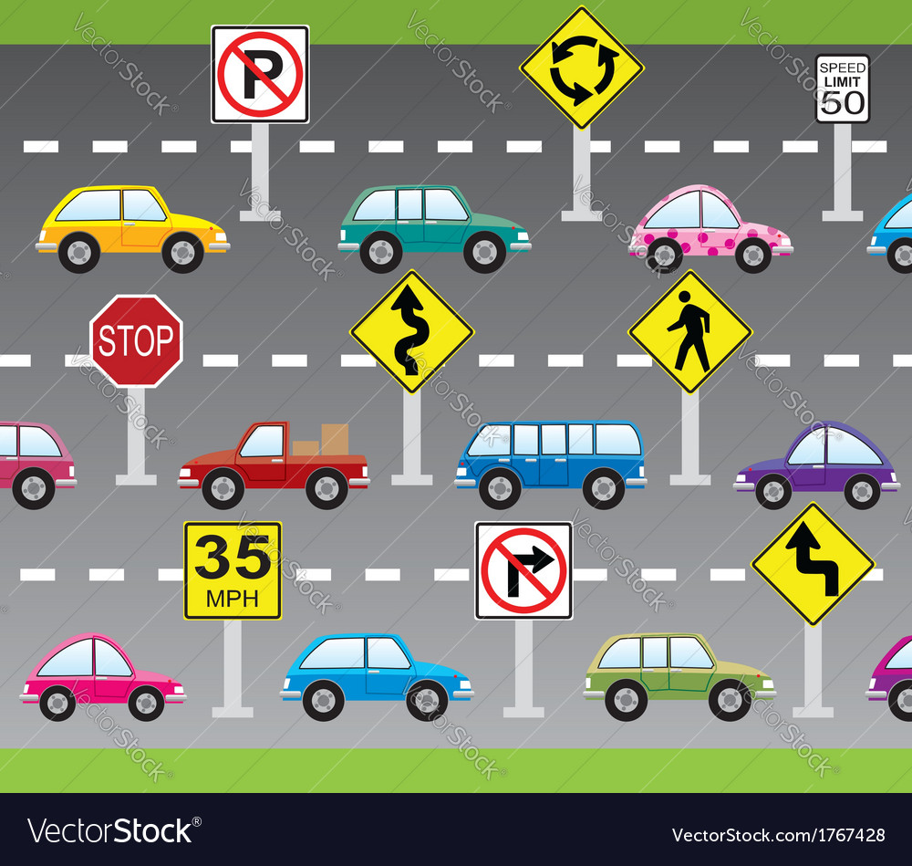 Cars and road signs vector