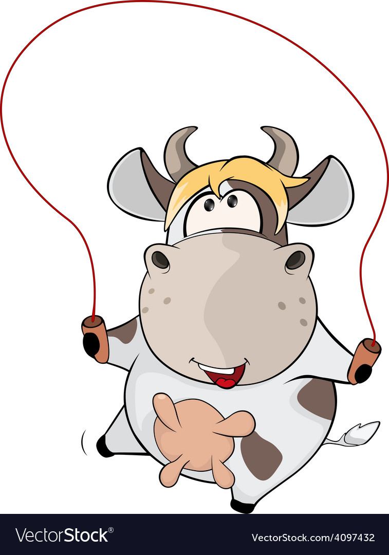 A small cow and a jump rope cartoon vector