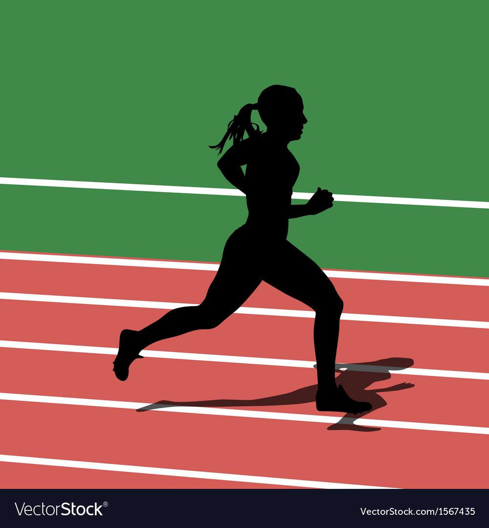 Running silhouettes in sport stadium vector