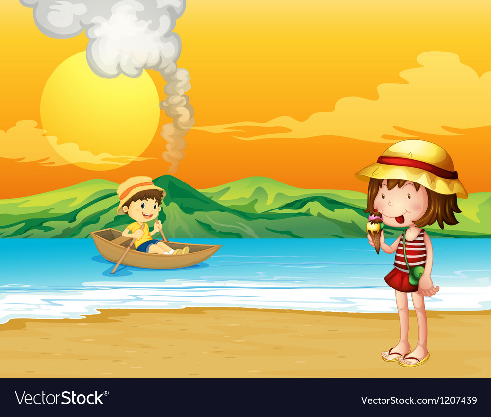 A boy in a wooden boat and a girl at the seashore vector