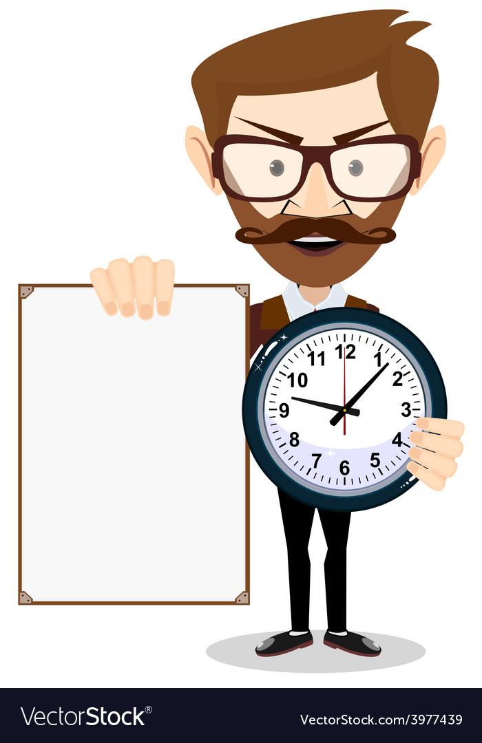 Teacher with a sheet timesheet vector