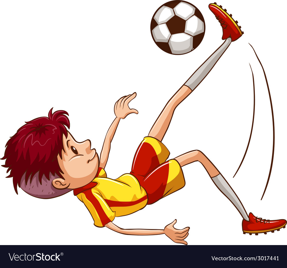 A simple coloured sketch of a soccer player vector