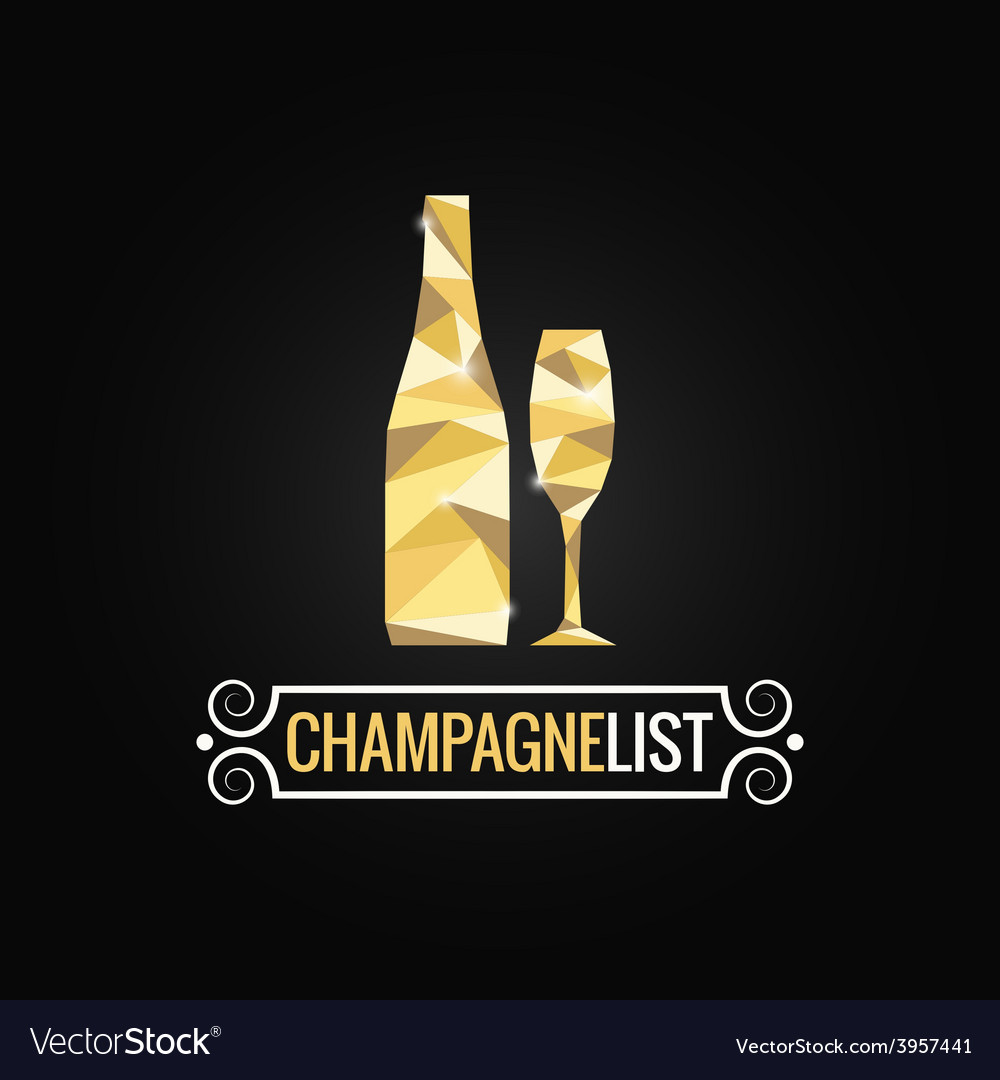 Champagne bottle poly design background vector