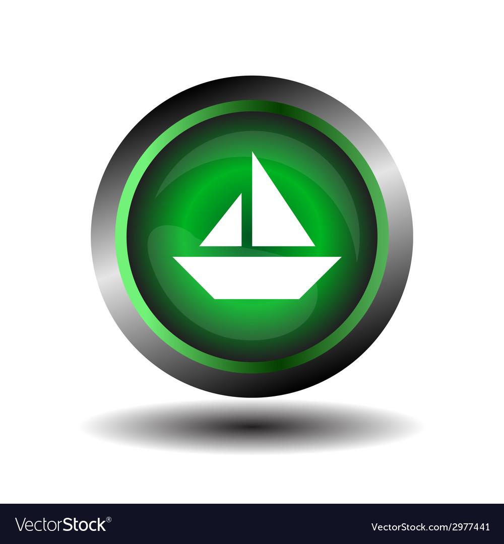 Sail icon on round internet button vector