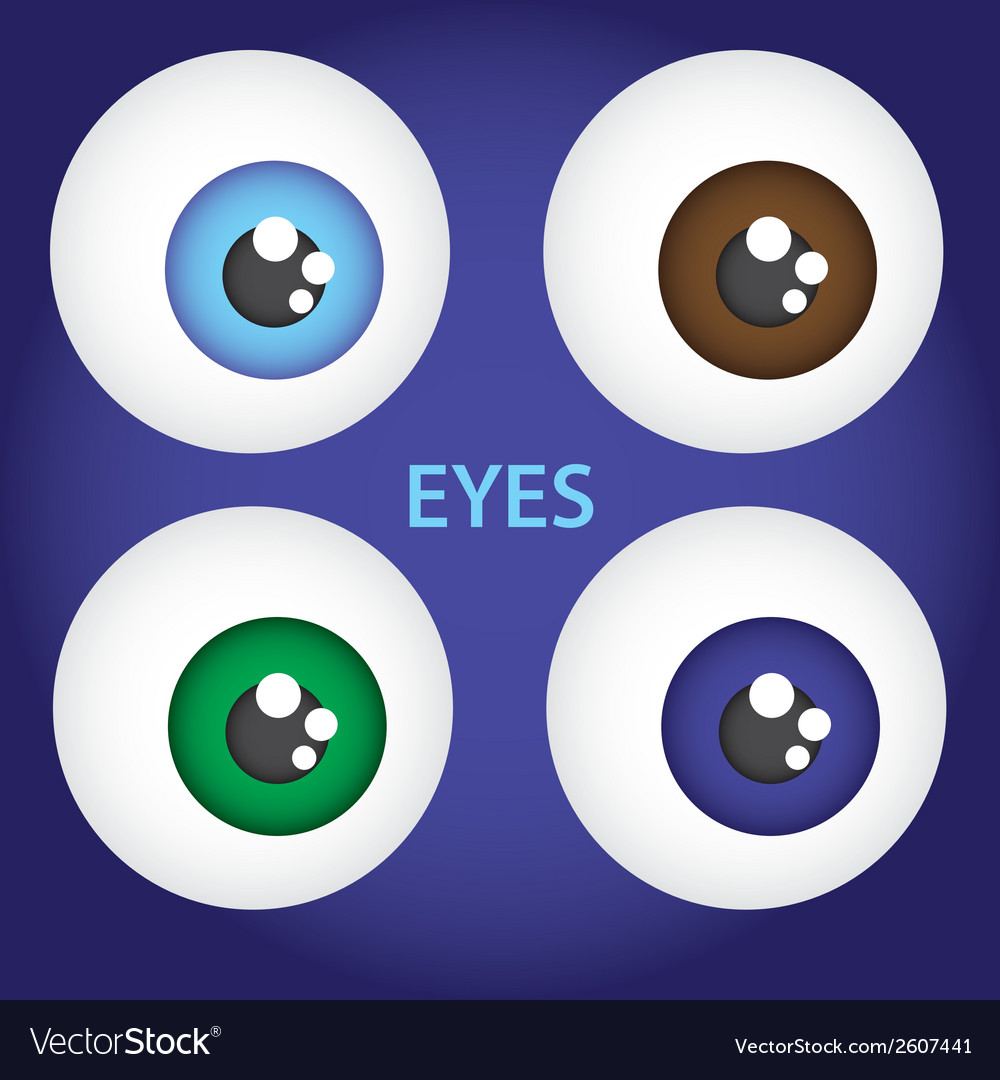 Simple color eyes set eps10 vector