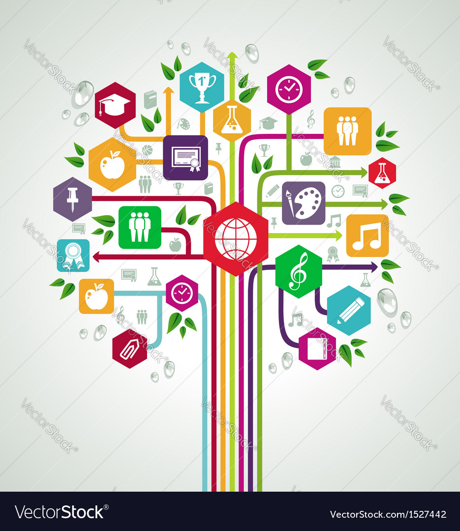 Back to school flat icons education network tree vector