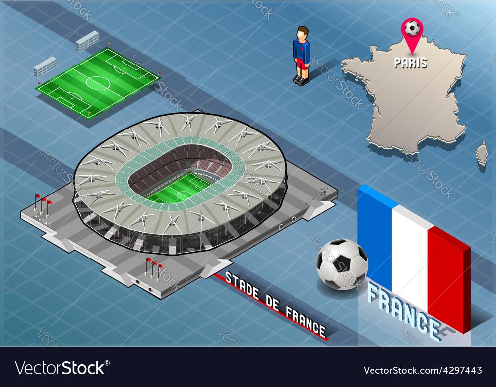 Isometric soccer stadium - stadie de france paris vector