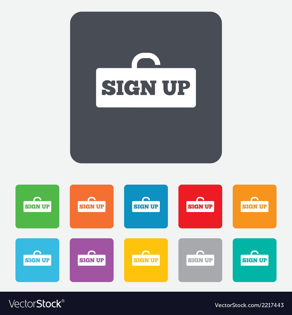Sign up sign icon registration symbol vector