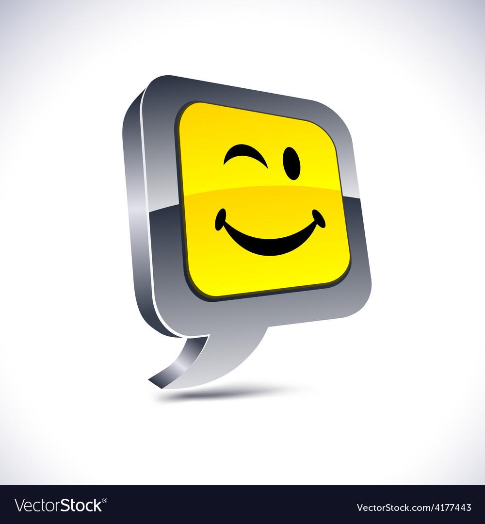 Smiley 3d balloon button vector