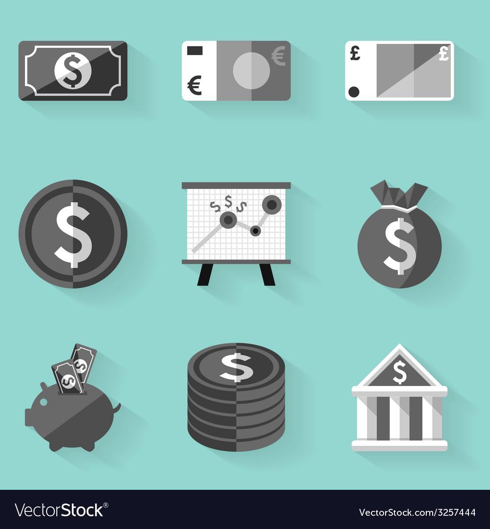 Flat icon set money white style vector