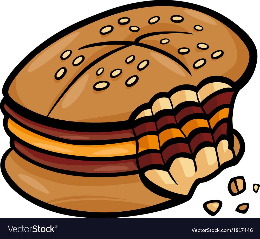 Bitten cheeseburger cartoon clip art vector
