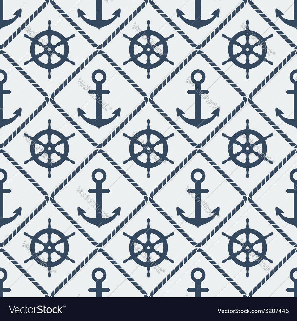 Steering wheel and anchor seamless pattern vector