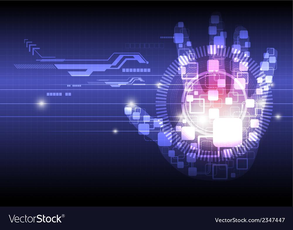 Digital hand technology background vector
