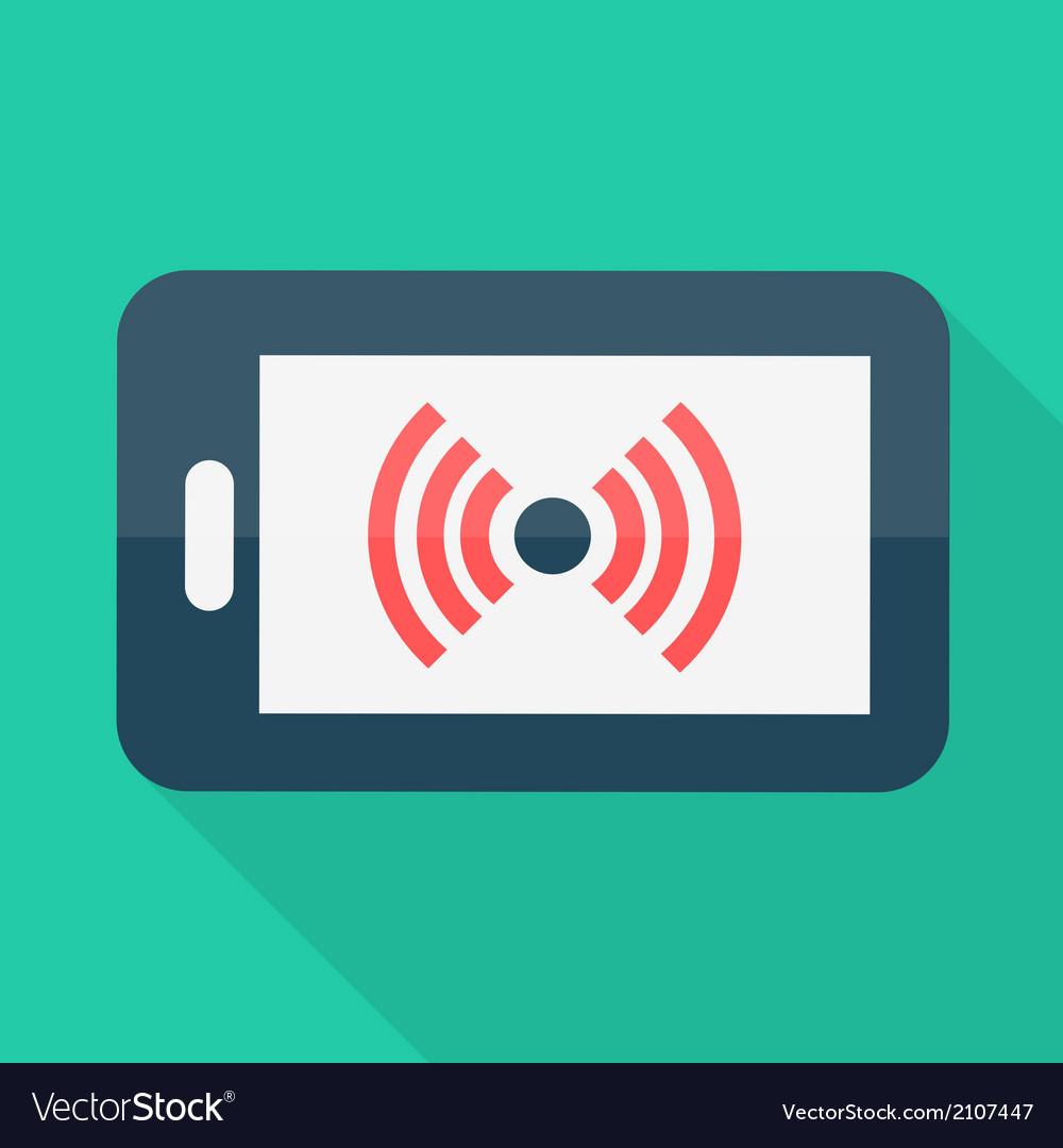 Smartphone flat design wireless icon vector
