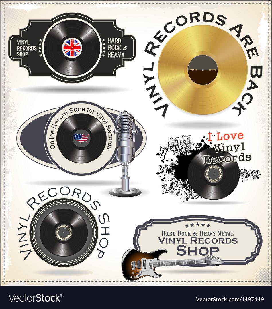Vinyl records labels vector