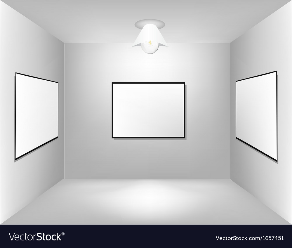 Large empty room with a advertising board vector