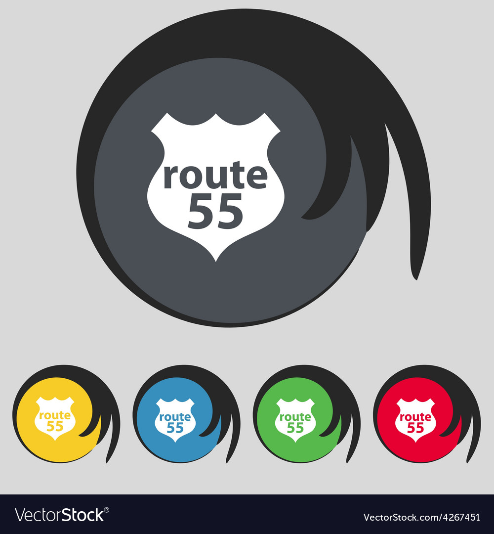 Route 55 highway icon sign symbol on five colored vector