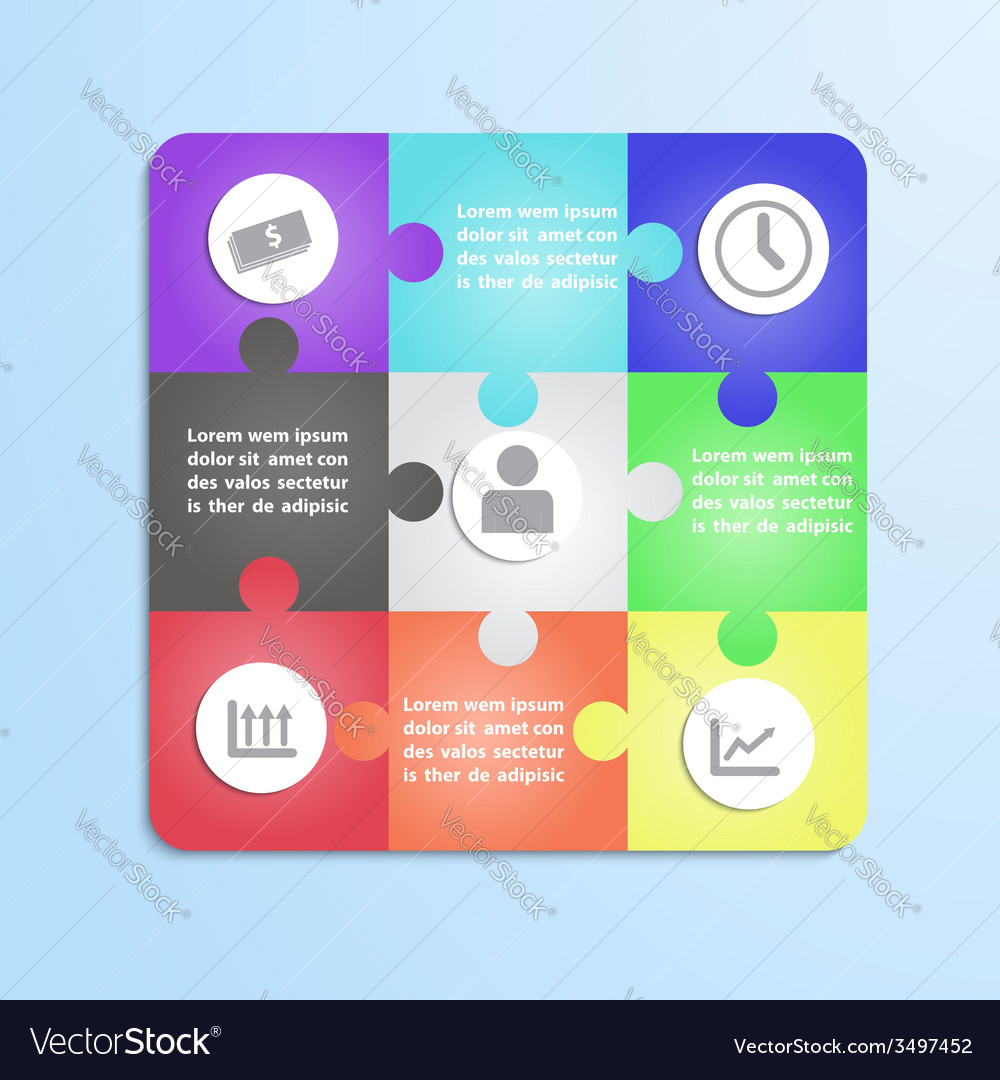 Jigsaw puzzle infographic template vector