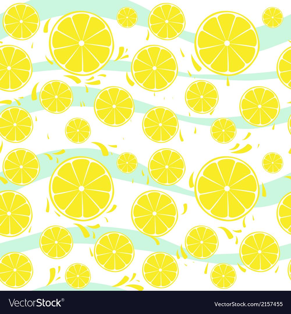 Lemons slices seamless pattern splash vector